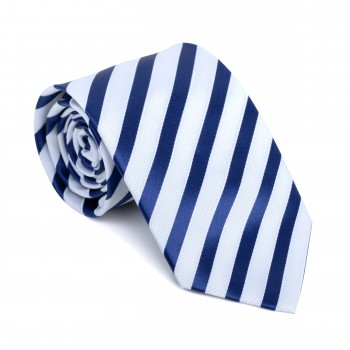 Navy and White Stripe Football Tie #AB-T1019/2