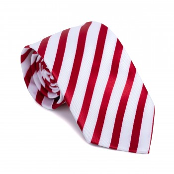 Red and White Stripe Football Tie #AB-T1019/4