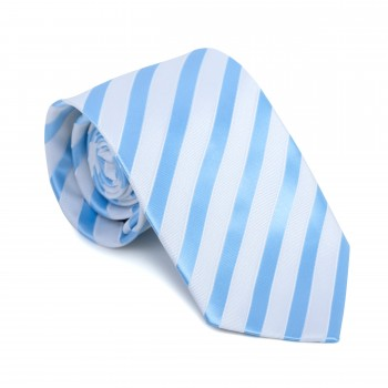 Sky Blue and White Stripe Football Tie #AB-T1019/6