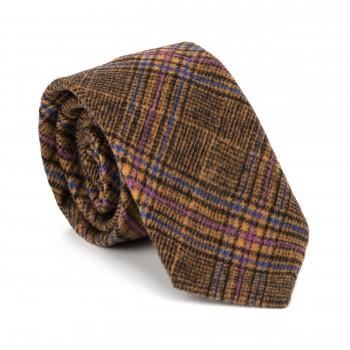 Brown Overcheck Wool Tie