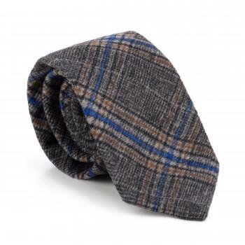 Grey Overcheck Wool Tie