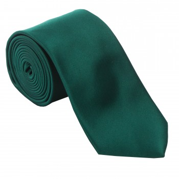 Bottle Green Satin Tie with Matching Pocket Square