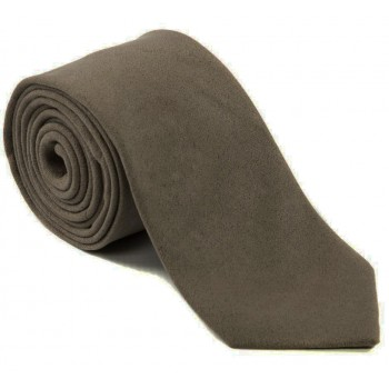 Taupe Suede Effect Plain Tie #LAST STOCK