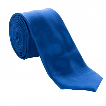 Royal Blue Satin Tie with Matching Pocket Square