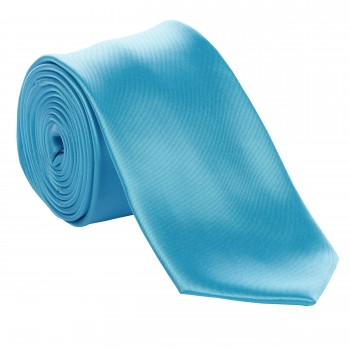 Turquoise Satin Tie with Matching Pocket Square