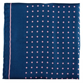 Navy with Pink Polka Dot Silk Pocket Square #TPH05/4