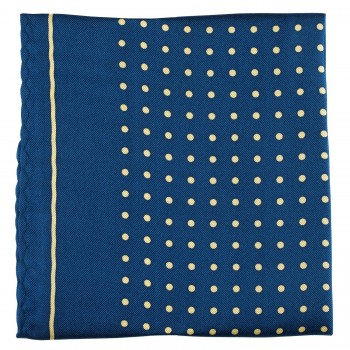Navy with Yellow Polka Dot Silk Pocket Square #TPH05/6