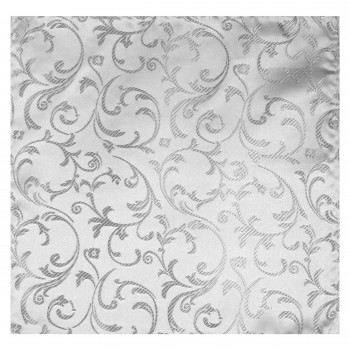 Silver Swirl Leaf Wedding Pocket Square #AB-TPH1000/10