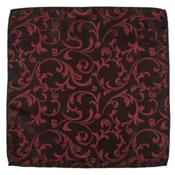 Burgundy on Black Swirl Leaf Pocket Square #AB-TPH1000/1