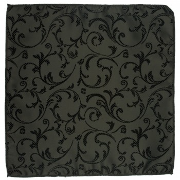 Black on Black Swirl Leaf Wedding Pocket Square #AB-TPH1000/3