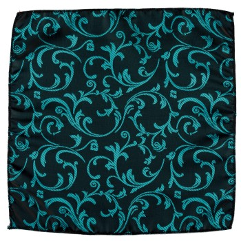 Teal on Black Swirl Leaf Wedding Pocket Square #AB-TPH1000/2