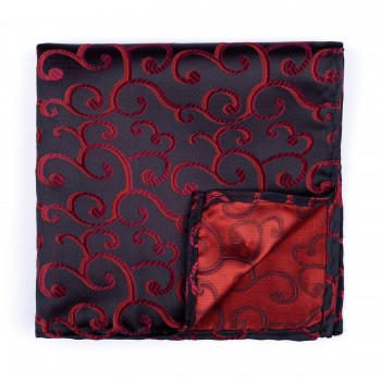 Wine on Black Royal Swirl Pocket Square #AB-TPH1001/10