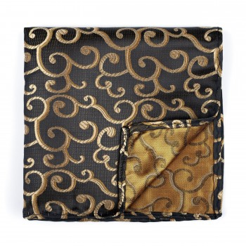 Gold on Black Royal Swirl Pocket Square #AB-TPH1001/11