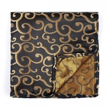 Gold on Black Royal Swirl Pocket Square #AB-TPH1001/11