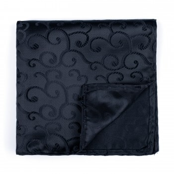 Black on Black Royal Swirl Pocket Square #AB-TPH1001/8