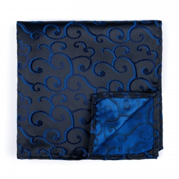 Navy on Black Royal Swirl Pocket Square #AB-TPH1001/9