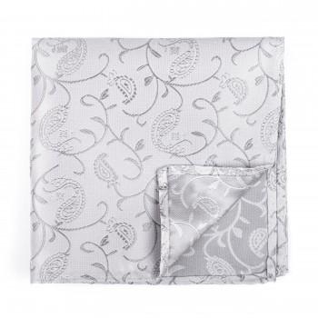 Silver Budding Paisley Pocket Square #AB-TPH1003/8