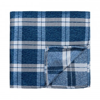 Navy Blue Wide Check Pocket Square
