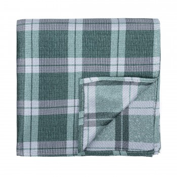 Moss Green Wide Check Pocket Square