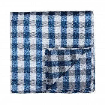 Neat Check Formal Pocket Square Navy Blue