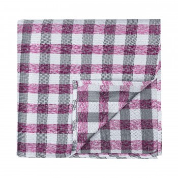 Burgundy Neat Check Pocket Square