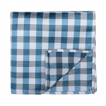 Blue Neat Check Pocket Square
