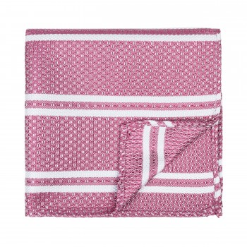 Pastel Stripe Pocket Square Dark Pink