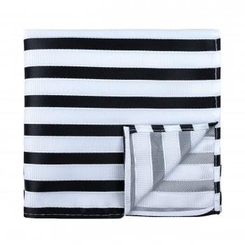 Black and White Stripe Football Pocket Square #AB-TPH1019/1