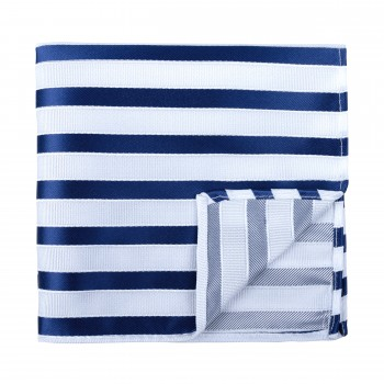Navy and White Stripe Football Pocket Square #AB-TPH1019/2