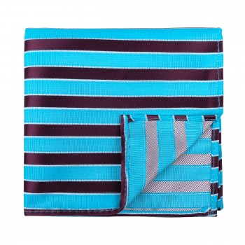 Wine and Turquoise Stripe Football Pocket Square #AB-TPH1019/3