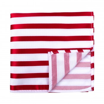 Red and White Stripe Football Pocket Square #AB-TPH1019/4