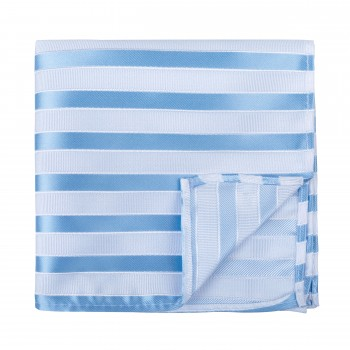 Sky Blue and White Stripe Football Pocket Square #AB-TPH1019/6