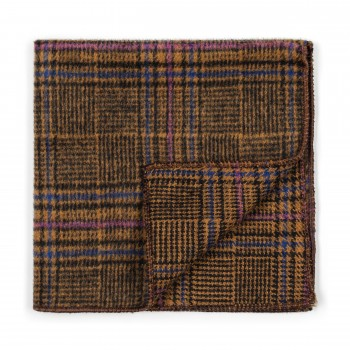 Brown Overcheck Wool Pocket Square