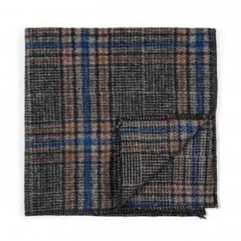 Grey Overcheck Wool Pocket Square