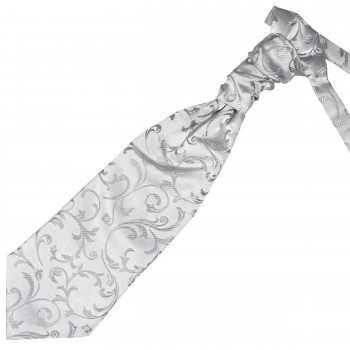 Silver Swirl Leaf Wedding Cravat #AB-WCR1000/10