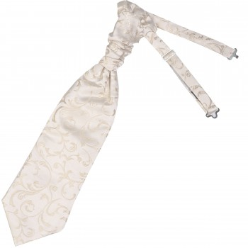 Cream Swirl Leaf Wedding Cravat #AB-WCR1000/11