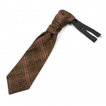 Brown Overcheck Wool Cravat