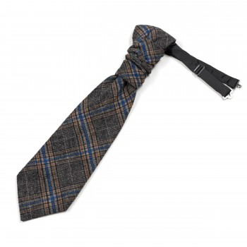 Grey Overcheck Wool Cravat