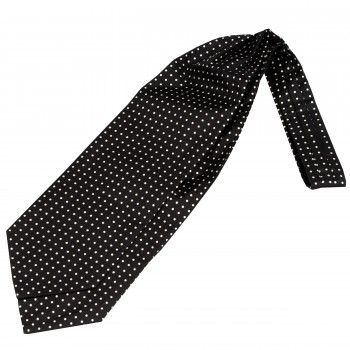 Black with White Polka Dot Silk Day Cravat #WCR5032/1