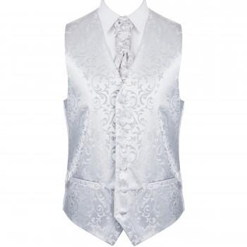 Silver Swirl Leaf Formal Waistcoat #AB-WWA1000/10