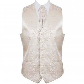 Cream Swirl Leaf Formal Waistcoat #AB-WW1000/11