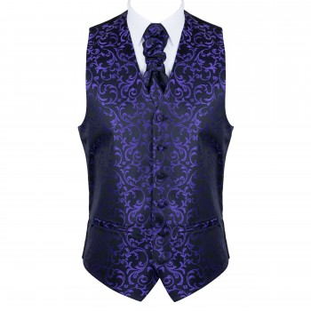 Purple on Black Swirl Leaf Formal Waistcoat #AB-WW1000/14