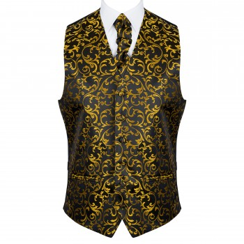 Gold on Black Swirl Leaf Formal Waistcoat #AB-WWA1000/15