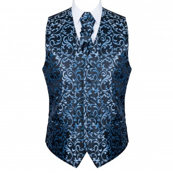 Morning Blue on Black Swirl Leaf Wedding Waistcoat Abel & Burke