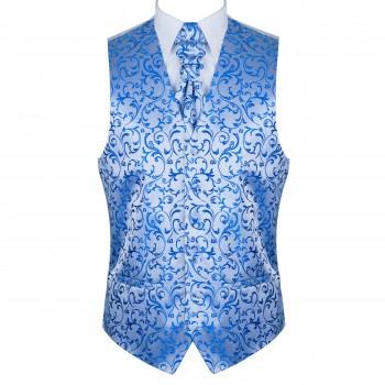 Blue Swirl Leaf Wedding Waistcoat #AB-WW1000/18
