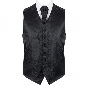 Black on Black Swirl Leaf Wedding Waistcoat #AB-WWA1000/3