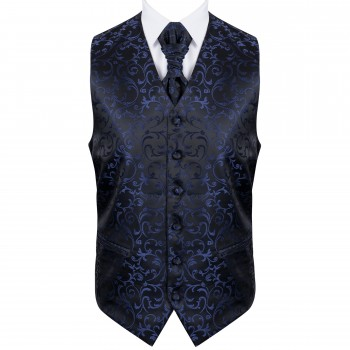 Navy on Black Swirl Leaf Wedding Waistcoat #AB-WW1000/4