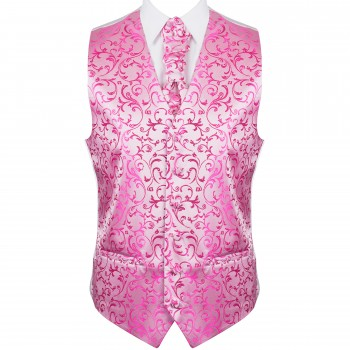 Hot Pink Swirl Leaf Wedding Waistcoat #AB-WWA1000/5