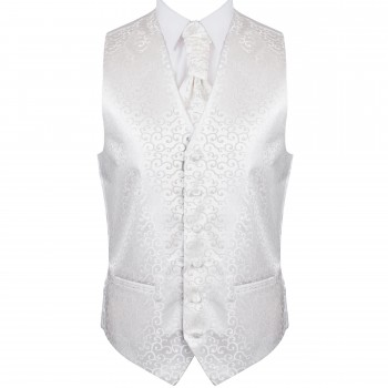 Ivory Royal Swirl Wedding Waistcoat #AB-WWA1001/6