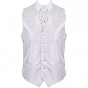 Lilac Modern Scroll Wedding Waistcoat #AB-WW1002/1